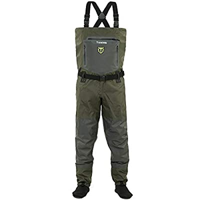TideWe Breathable Waders, Waterproof Stockingfoot Chest Waders with Zippered Pockets, Lightweight Fly Fishing Waders for Men and Women