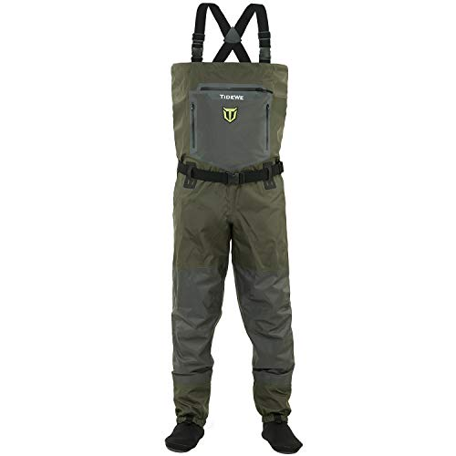 TIDEWE Breathable Waders, Waterproof Stockingfoot Chest Waders with Zippered Pockets, Lightweight Fly Fishing Waders for Men and Women (Size M) Green