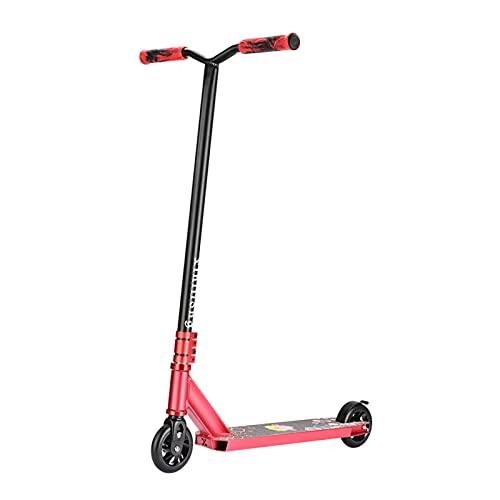 Scooter Freestyle para Niños Y Adultos, HIC Compresin Rodamientos ABEC-9 Ruedas 110mm, Patinete Freestyle con Barra 360 Grados, Adultos Y Niños a Partir De 8 Años (Rosado)