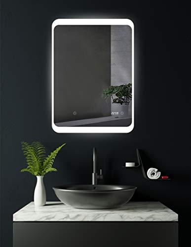 HOKO® LED Badspiegel mit digitaler Uhr, Weimar 50x70cm, Badezimmerspiegel mit Uhr, Energieklasse A+ (WEEE-Reg. Nr.: DE 40647673)