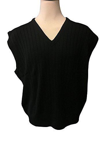 Cotton Traders Big and Tall D'Avila Acrylic Sweater Vest (4X, Black)