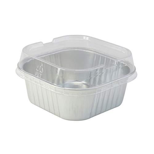 kitchendance Einweg Aluminium 10,2x 10,2cm quadratisch Kuchen Pfannen W/Deckel–# a-24 10,16 cm silber