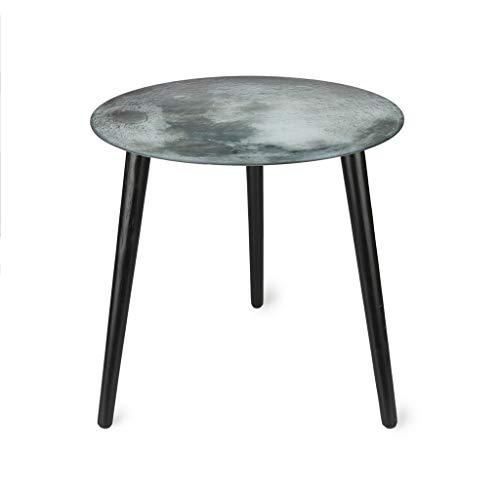 Balvi Tavolino The Moon Vetro del tabellone con L'Immagine della Luna e Gambe in Legno Vetro 40 cm