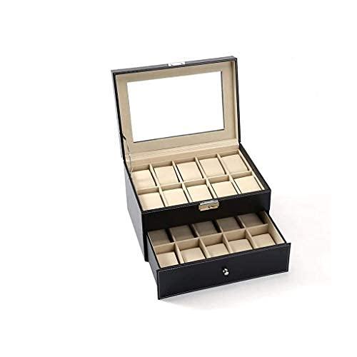 Pieza de Cuero sintético para Hombres Caja de Reloj Colección de vitrinas Caja de joyería Almacenamiento Superior de Vidrio Exquisito