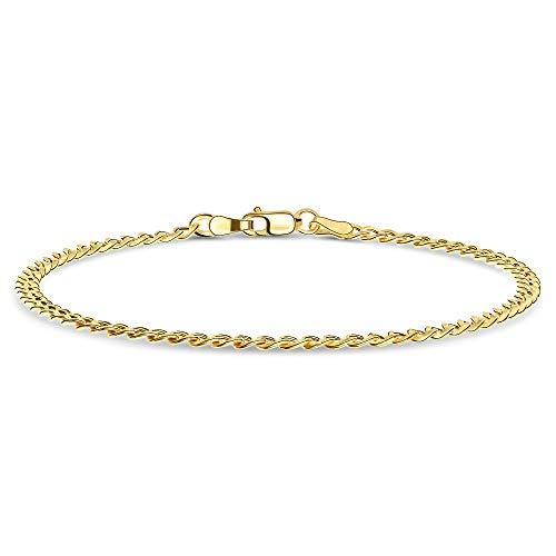 Miore Armband Damen Panzerkette Gelbgold 14 Karat / 585 Gold, Länge 19.5 cm Schmuck
