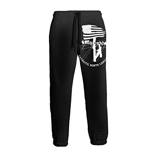Patriotic North Carolina Power Pole Electric Cable Lineman Men's 3D Printing Trousers Pocket Pants Trousers Sweatpants Slacks White