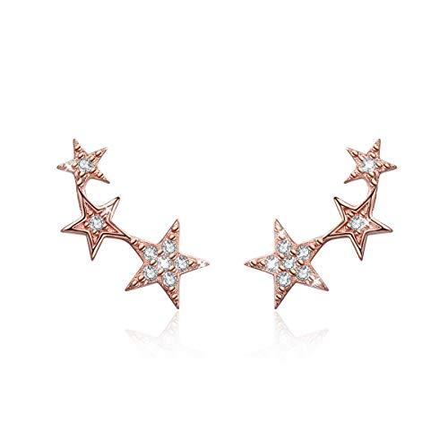 Regalos Navidad, Joyería Pendientes estrella niña de plata de ley Ear Cuffs hipoalergénicos Pendientes
