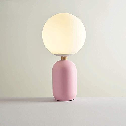 YYF Dekorative Tischlampe Studie Schlafzimmer Nachttischlampe Wohnzimmerlampe Glaskugel,Pink