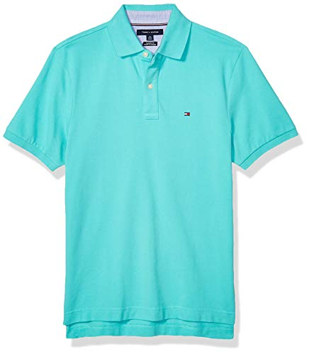 Tommy Hilfiger Men's Regular Short Sleeve Polo Shirt in Classic Fit, Turquoise, XX-Large