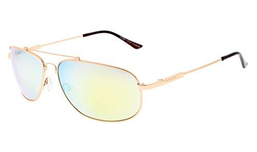 Eyekepper Bifocal Lezen Zonnebril buigzaam, opslag voor zones, dames en heren +3.00 Goud frame gouden spiegel