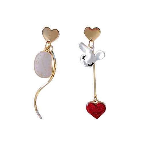 LCHB Pendientes asimétricos del Conejo en Forma de corazón de la Moda (Color : Stud Earrings)