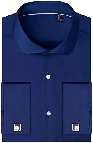 Siliteelon - Camisa de vestir para hombre con doble puño (gemelos incluidos)