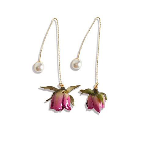 S-TROUBLE Cute Sweet Red Pressed Flower Long Drop Earrings Women Natural Rose Flower Wire Chain Dangle Earrings Fashion Jewelry