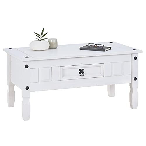 CARO-Möbel Couchtisch Rural im Mexiko Stil Wohnzimmertisch Beistelltisch mit Schublade Kiefer massiv, weiß lackiert