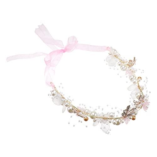 Holibanna Pulsera de Perlas de Diamantes de Imitación Floral Guirnalda de Flores para Boda Niña de Las Flores Niños