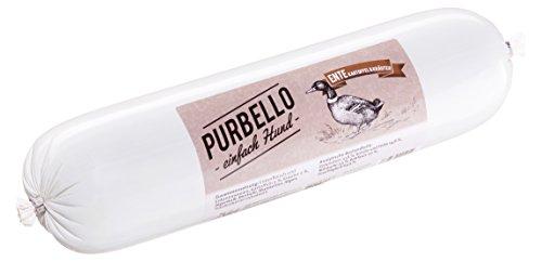 PURBELLO Hundewurst Ente - 8 x 800 g - Monoprotein Hundefutter mit hohem Fleischanteil - Nassfutter für Hunde - Schnittfest & Getreidefrei (6,4 kg)