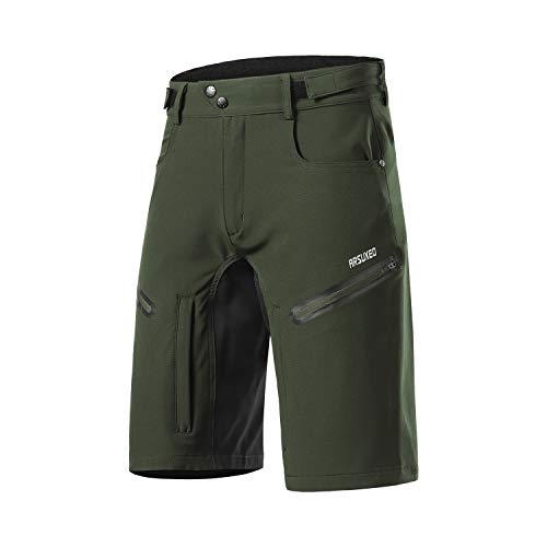 ARSUXEO Mens Bike Shorts,Cycling Shorts,Mountain Bike Shorts MTB Shorts Loose Fit with Moisture-Wicking Waistband Army Green Size Medium