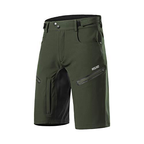 Arsuxeo - Pantaloncini da ciclismo da uomo, vestibilità larga, con cintura traspirante, Uomo, Verde militare, M