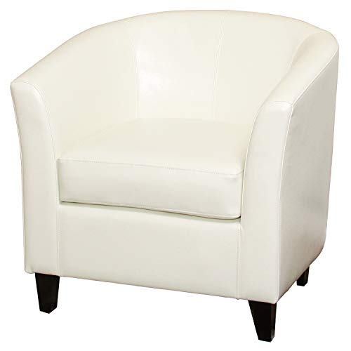 Christopher Knight Home Preston Bonded Leather Club Chair, White