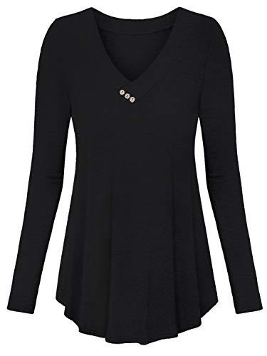 Amoretu T Shirt Damen V Ausschnitt Oberteil Langarm Knopf Tunika Longshirt Schwarz L