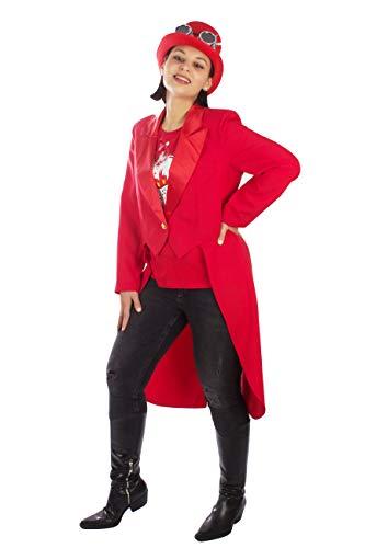 M&G Atelier Damen Frack Rot Kostüm Karnevalskostüm Gehrock Kostüm Fasching Handarbeit Gr. 36-54 (36)