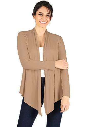Simlu Womens Open Drape Reg and Plus Size Cardigan Sweater Long Sleeves - USA Light Khaki X-Large