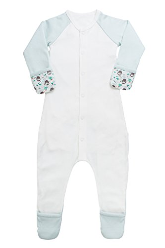 goumikids Goumi'all, Smart Adjustable Footie Baby Pajamas Made with Soft, Organic Material (0-3 Months, Waddle Mint)