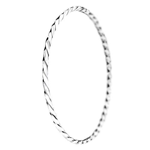 Mecool S925 Sterling Silber Armband Massiv Gedrehter Armreif Armband Stapelbar Strukturierter Armreif Armband für Frauen