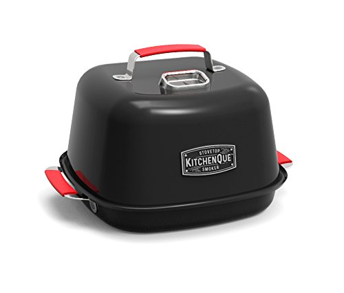"Charcoal Companion CC4132 KitchenQue Indoor Stovetop Smoker, 13.5"" x 12.5"" x 9.5"", Black"