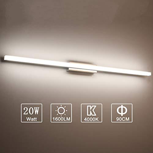 Yafido Aplique Espejo Baño Interior LED 90CM luz Baño Lámpara de Pared Espejo Iluminación para Maquillaje 20W Blanco Neutro 4000K No-regulable
