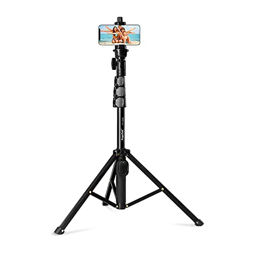 Fugetek 51 Professional Selfie Stick & Tripod, Phone Holder, Extendable, Bluetooth Remote, Portable All in One, Heavy Duty Aluminum, Compatible with iPhone & Android Devices, Non Skid Feet, Black