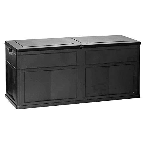 Mojawo 320 Liter XL Auflagenbox Kissenbox Gartenbox Gartentruhe Mehrzwecktruhe für Polsterauflagen Kunststoff Anthrazit wasserdicht