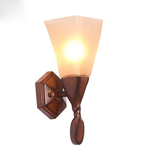 Cs wandlamp van hout, gedraaid, houtlook, kunsthandwerk, gang, verlichting E14, lamp, hoofdlamp, bedlampje, glas, lampenkap van kunsthars, lamp