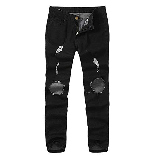 SoonerQuicker Jeans heren met gaten, oversized slim fit straight stretch geribbelde scheuren skinny knoopsluiting onderaan nauwsluitende broek lang elegante broek voor mannen regular fit