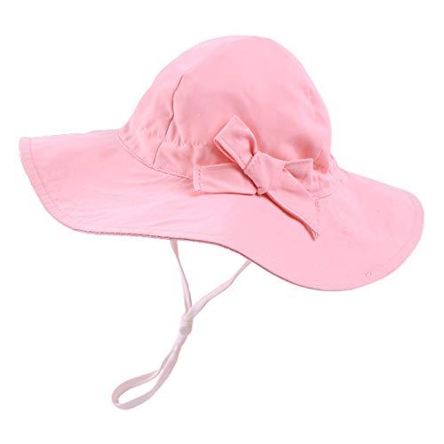 Sombrero para bebé niña de 6 meses a 8 años UPF 50. Protección solar ajustable. rosa 6-12 meses