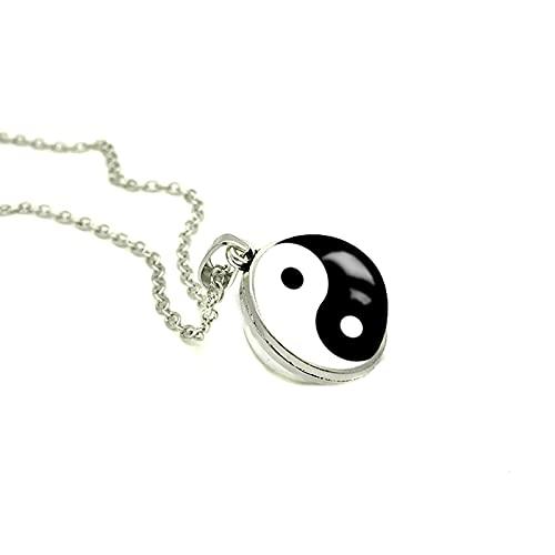 Revilium Colgante De Doble Cara Yin Yang, Collar De Nebulosa De Galaxia, Joyería Redonda Hecha A Mano, Colgantes De Fotos De Vidrio Artístico, 50 + 5Cm