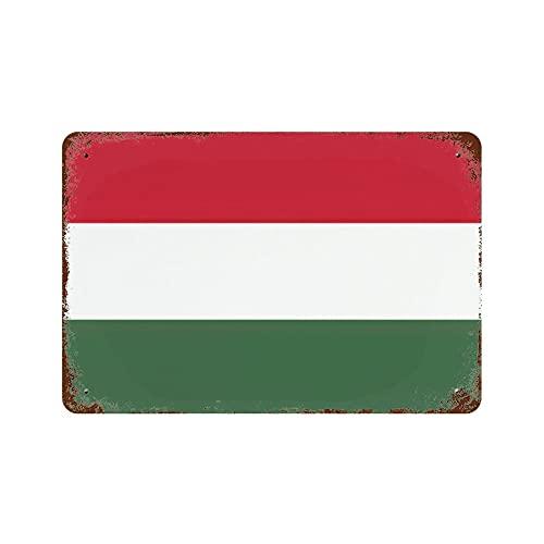 Gearsly Ungarn-Flagge Vintage Nationalflagge Retro Blechschild Länderflaggen Wandkunst Patriotisches Wandbild Bar Cafe Decor Man Cave