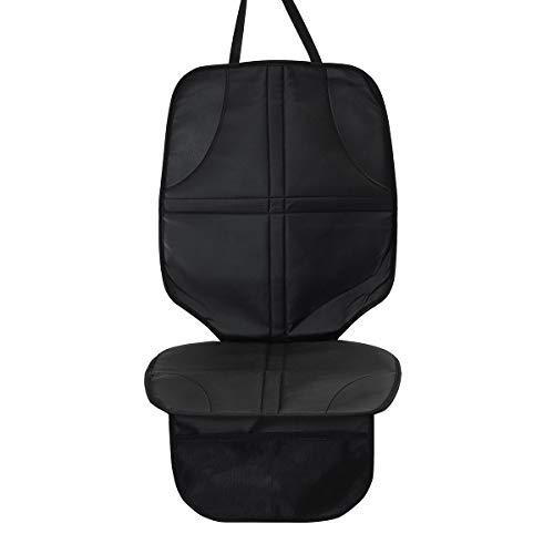 IUEFINUEN Coche Negro 45 cm de Cuero con Bolsillo para bebé Asiento Cojín Antideslizante Resistente al Desgaste Anti-Sucio a Prueba de Agua
