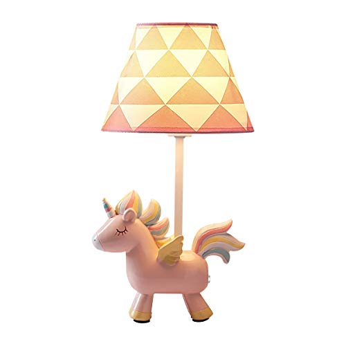 Cute Resin Unicorn Nursery Night Light Lamp Table Lamp with Shade, Kid's Room Decor, Gifts for Girls