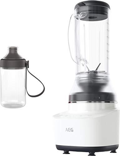 AEG CB7-1-4CW Kompaktmixer (2 Stufen, 2 Rezeptprogramme, Pulsfunktion, Inkl. Zubehör, Tasten mit LED-Hinterleuchtung, 6-Klingen Edelstahlmesser, 0,6 l Tritan-Krug, weiß)