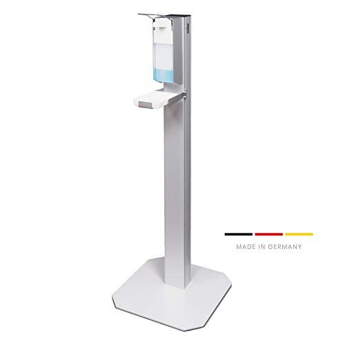 Desinfektionssäule, Desinfektionsmittelspender, mit Standfuß zur Handdesinfektion, ideal für Praxisräumlichkeiten, Gewerbe und Einzelhandel! (mit Auffangschale Kunststoff)