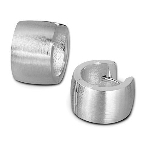 SilberDream Ohrringe 14mm Damen-Schmuck 925er Silber Creolen matt SDO382M