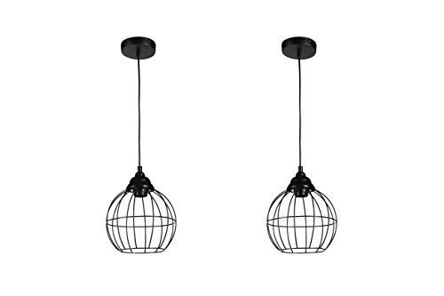 LIFA LIVING - Juego de 2 lámparas de techo para salón y dormitorio, con fijación y cable de 1,3 m, casquillo E27, color negro