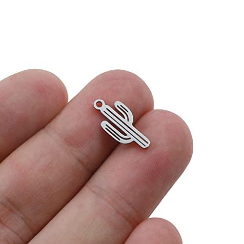SS01 10 unids/Lote Acero Inoxidable Cactus Charms Colgantes para Collar Pulsera Joyería Hacer Pendiente DIY Accesorios Hechos a Mano YC527 (Metal Color : Steel)