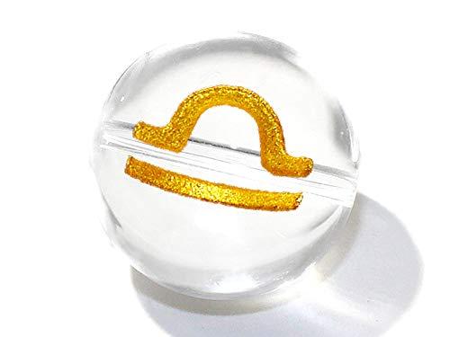 (SAJ)1粒売り 天秤座 星座彫刻 金 水晶 10mm パワーストーン バラ売り 天然石 (横穴)