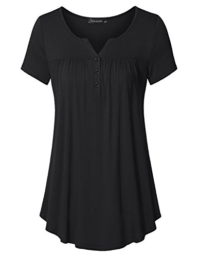 Vinmatto Women's Short Sleeve Henley V Neck Pleated Button Details Tunic Shirt Top(XL,Black)