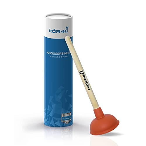 kör4u® Ausgussreiniger I Pömpel für Bad, Küche, Dusche und Toilette I hochwertig, funktional und praktisch I Abflussreiniger 140mm optimal geeignet für die Toilette