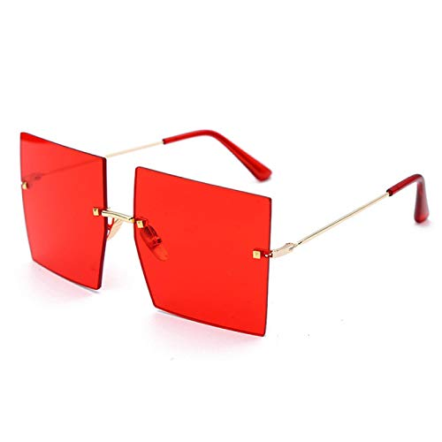 Astemdhj Gafas de Sol Sunglasses Gafas De Sol Cuadradas Sin Montura De Gran Tamaño para Mujer, Lujo, Parte Superior Plana, Rojo, Azul, Lente Transparente, Gafas De UAnti-UV