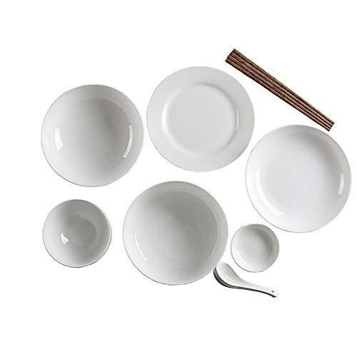 GJZhuan Pur Blanc Simple 2 Personne Os Chine Couverts Ensemble Chinois Ménage Couple en Céramique Plat De Soupe Bol De Soupe
