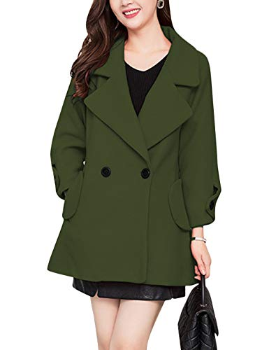 Tanming Womens Autumn Casual Loose Lapel Wool Blend Double Breasted Coat Trench Coat (Army Green, X-Large)